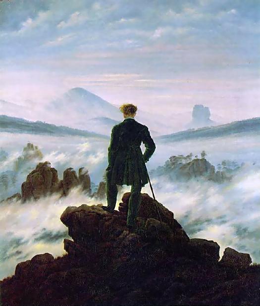 El caminante sobre el mar de nubes. Óleo sobre lienzo. Caspar David Friedrich. Año 1818